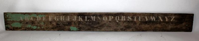 French painted wood coat rack with alphabet