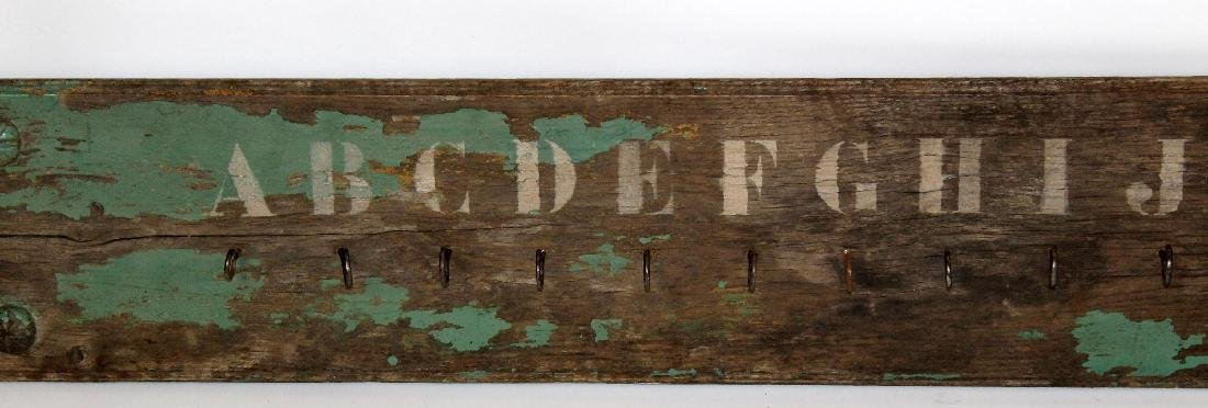 French painted wood coat rack with alphabet - 2