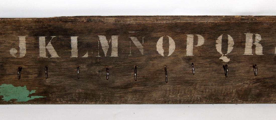 French painted wood coat rack with alphabet - 4