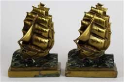 Pompeian Bronze Co Clipper Ship bookends