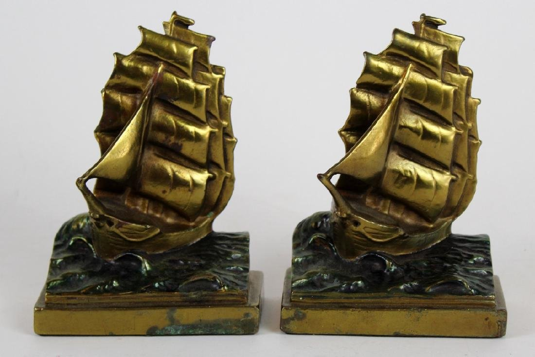 Pompeian Bronze Co Clipper Ship bookends