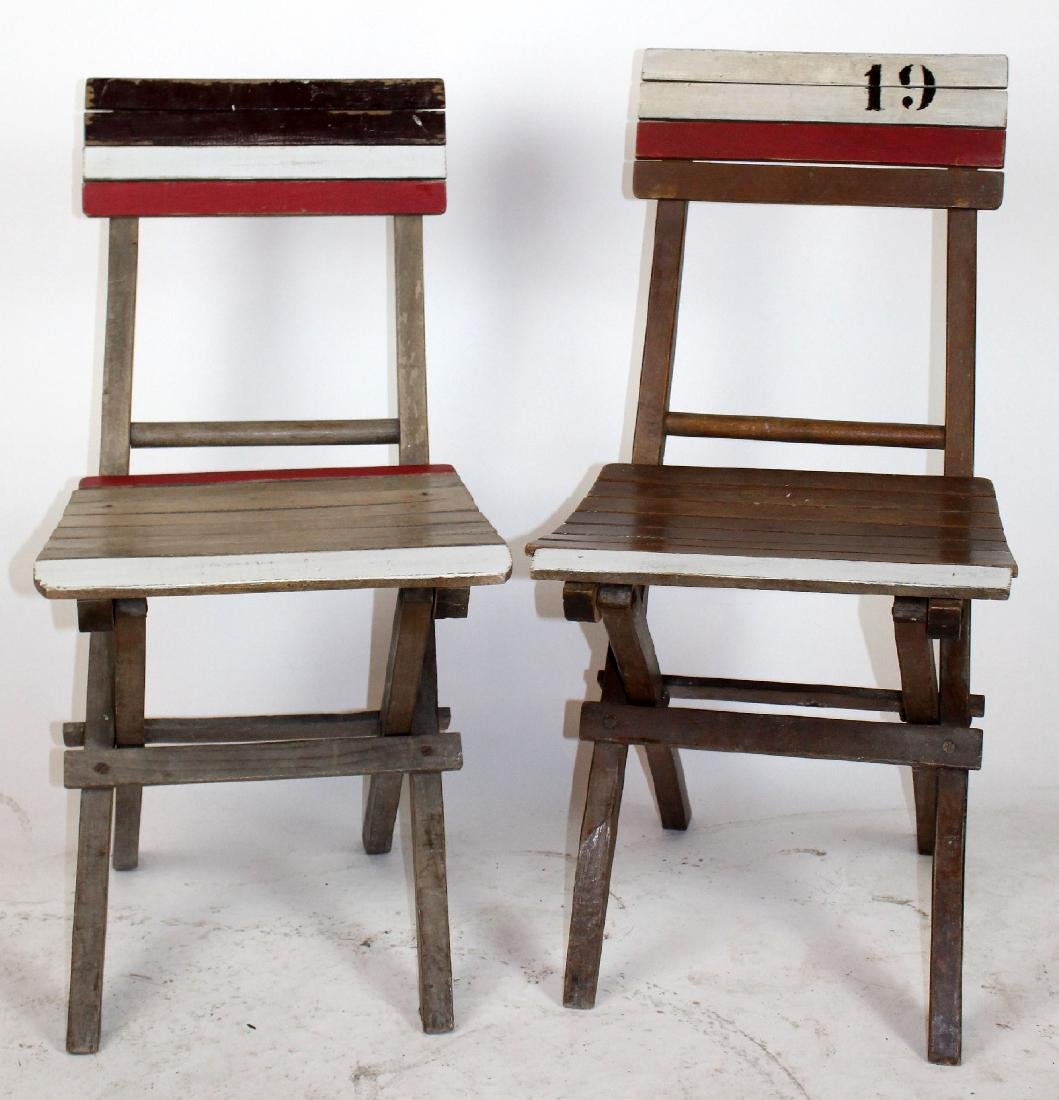 Pair of French folding deck or beach chairs
