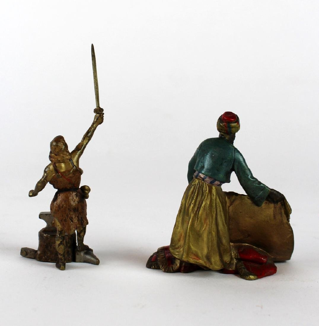 Lot of 2 cold painted bronze figurines