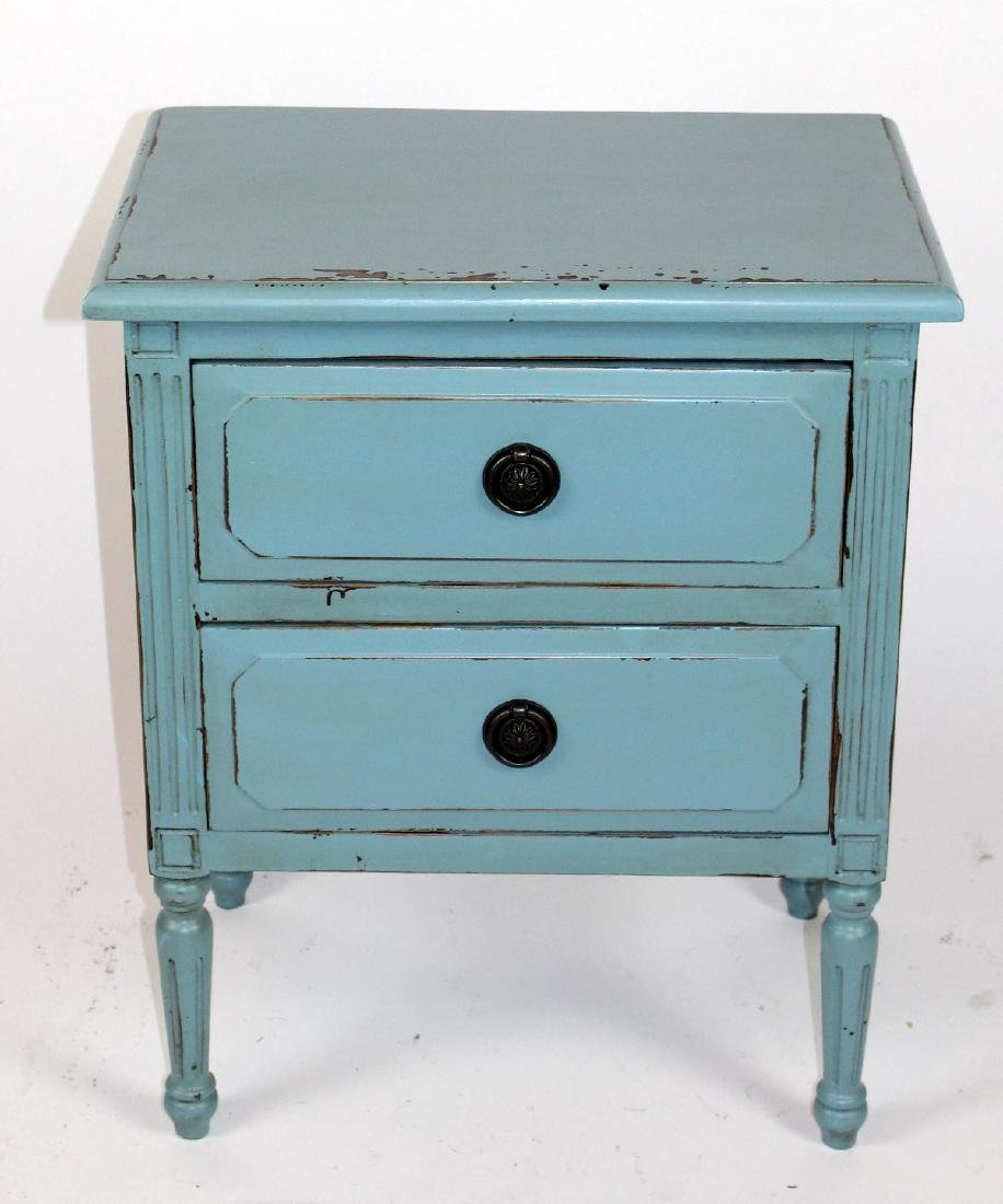 Blue painted 2 drawer end table