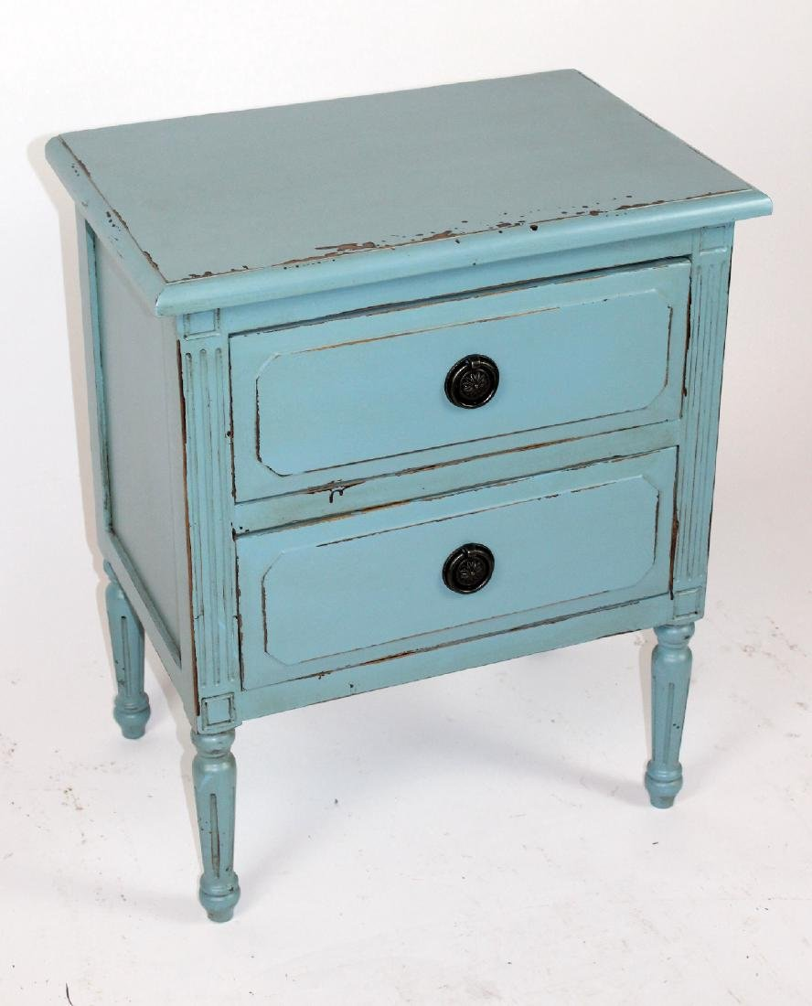Blue painted 2 drawer end table - 2