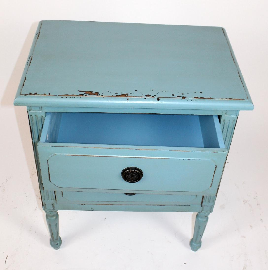 Blue painted 2 drawer end table - 3