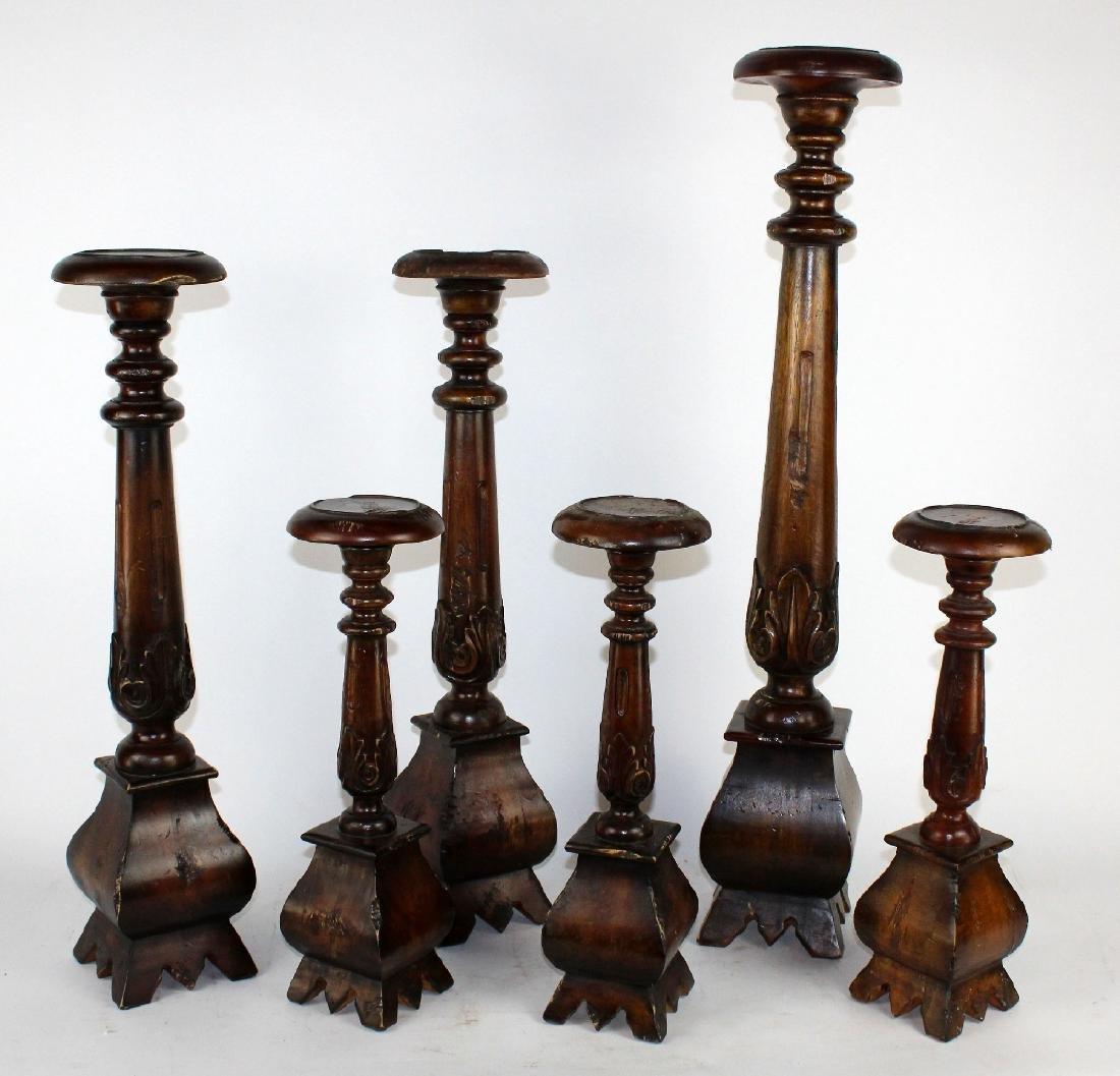 Set of 6 mahogany candle holders