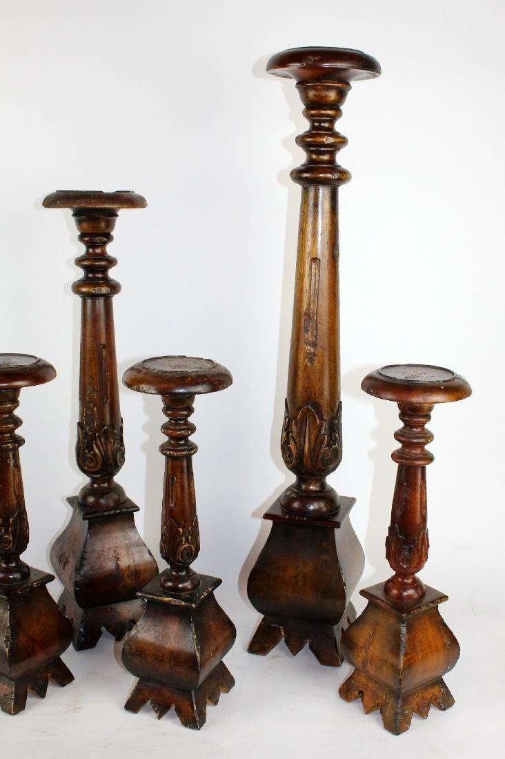 Set of 6 mahogany candle holders - 2