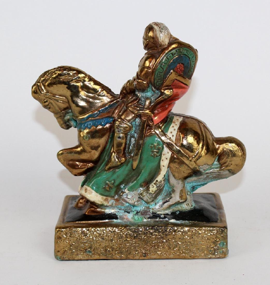 Bronze clad statue of knight on horseback - 2