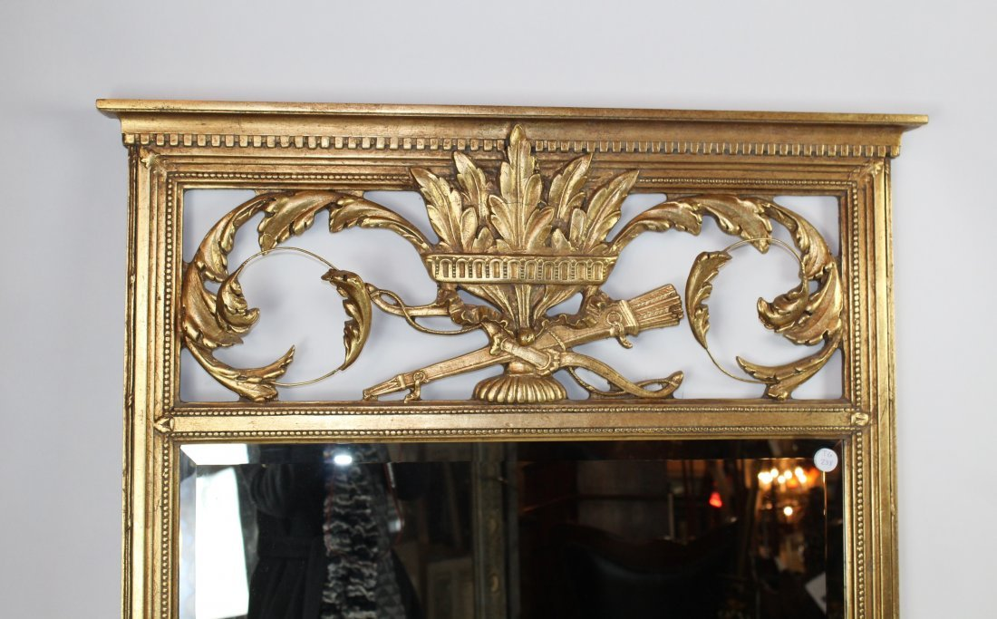 Louis XVI style gilt beveled mirror - 2