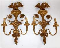 Pair of Italian gilt wood sconces with eagles