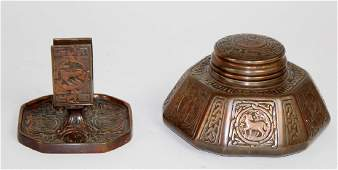 Tiffany Studios copper zodiac inkwell and match holder