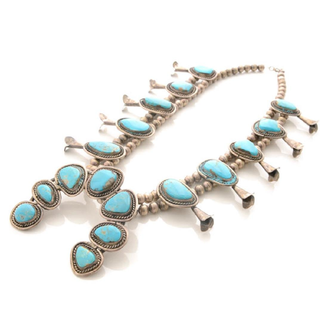 Native American Old Pawn Turquoise, Silver Squash