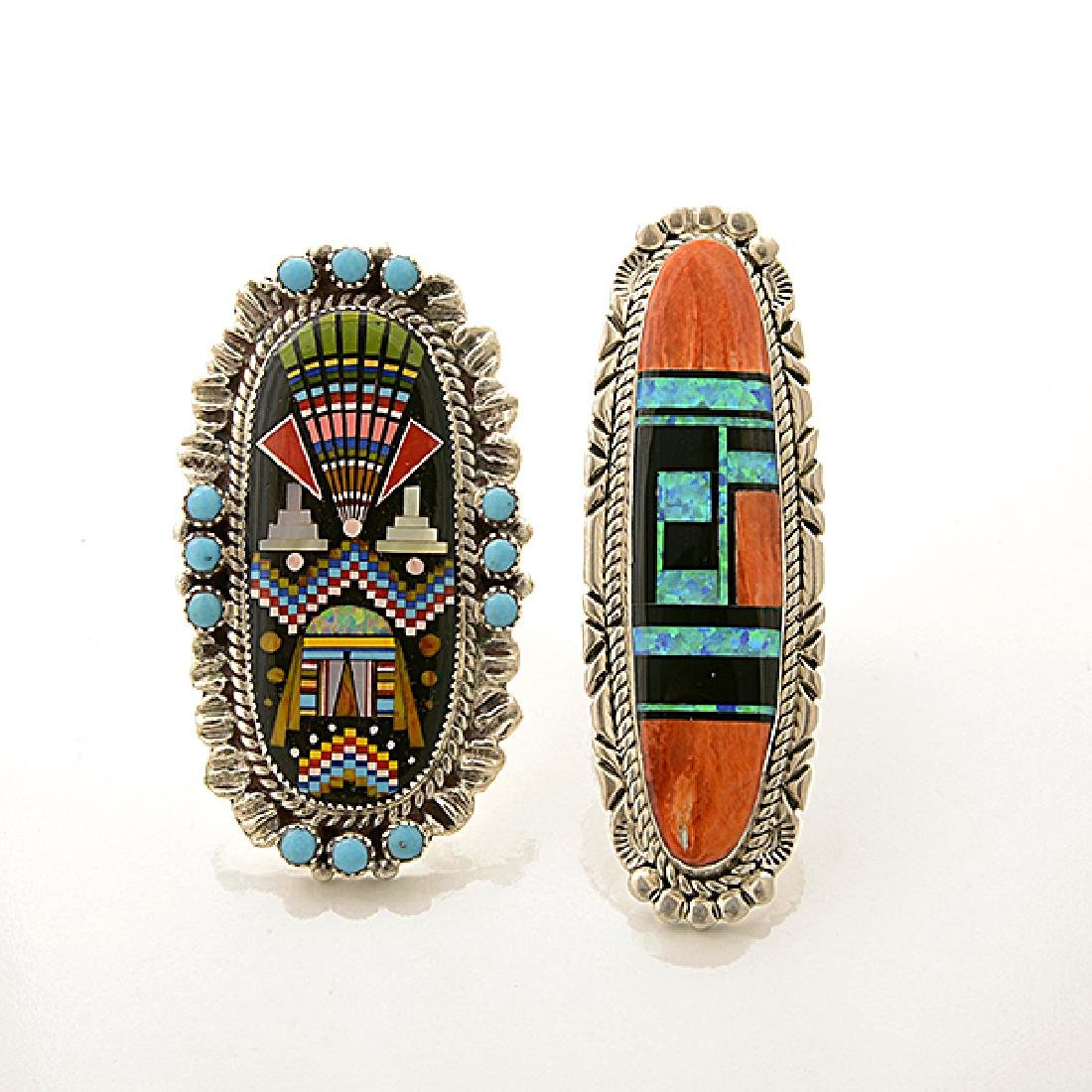 Collection of Native American Multi-Stone Inlay, - 2
