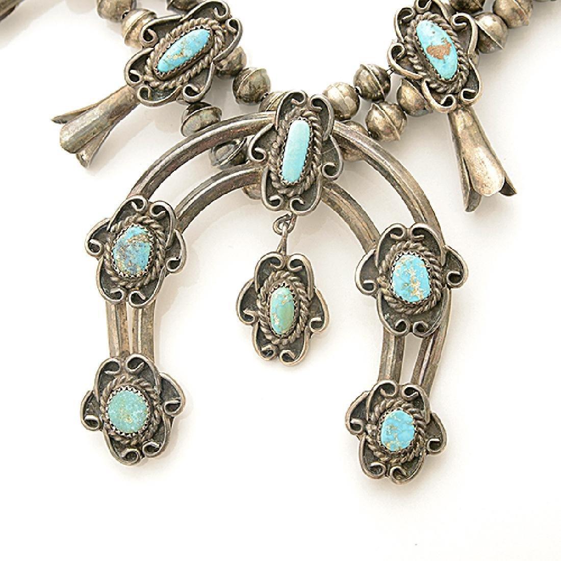 Native American Turquoise, Silver Squash Blossom - 2