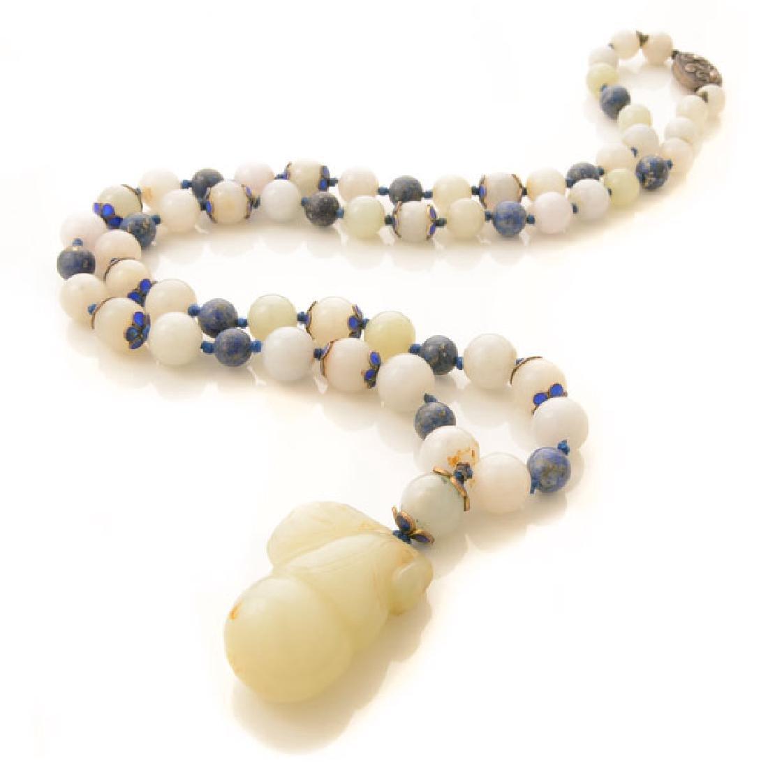Chinese Celadon Jade, Lapis Lazuli, Enamel, Silver