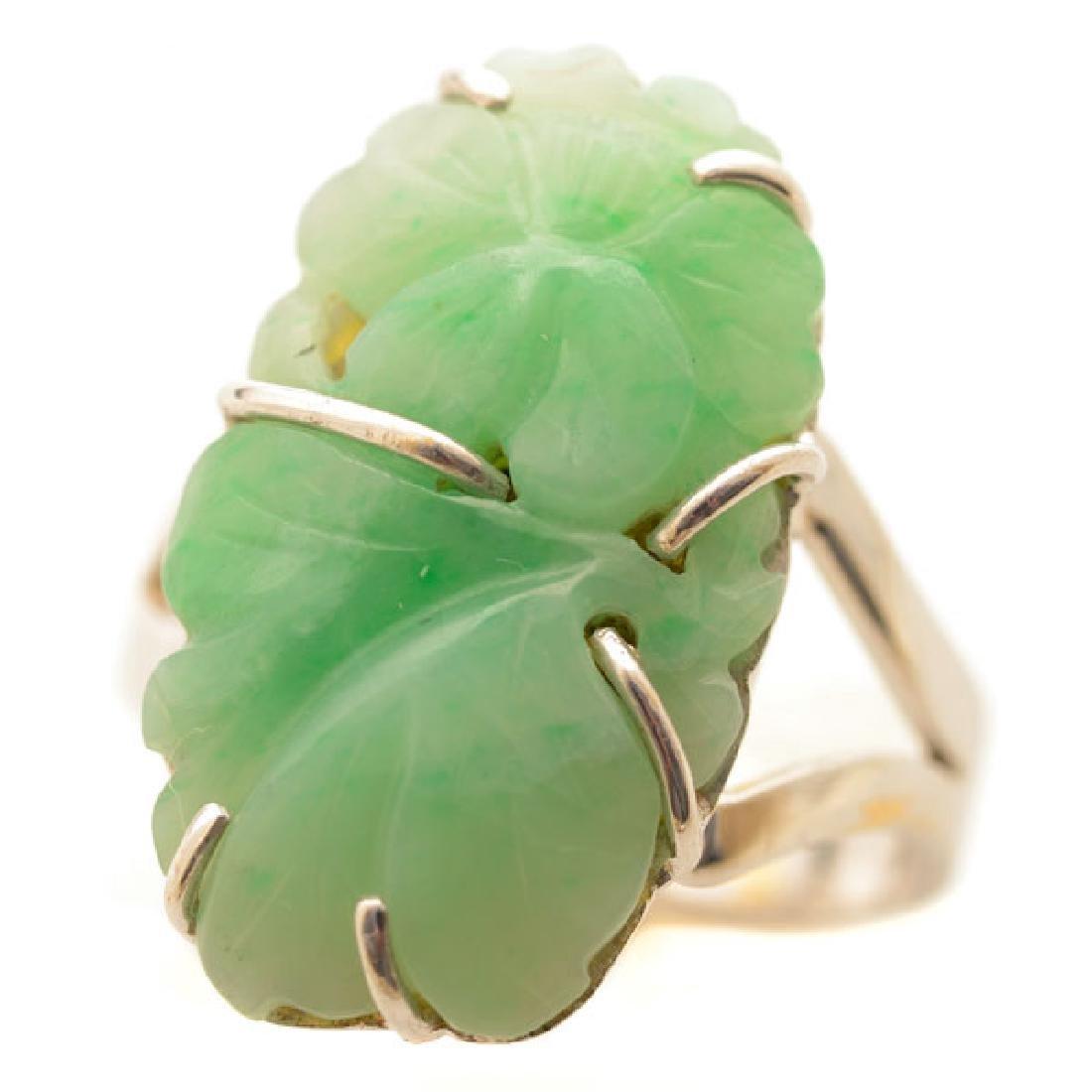 Jade, 14k White Gold Ring.