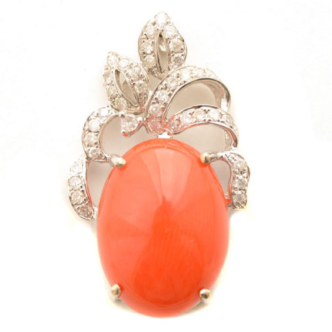 *Coral, Diamond, 14k White Gold Pendant.