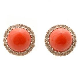 *Pair of Coral, Diamond, 14k White Gold Stud Earrings.