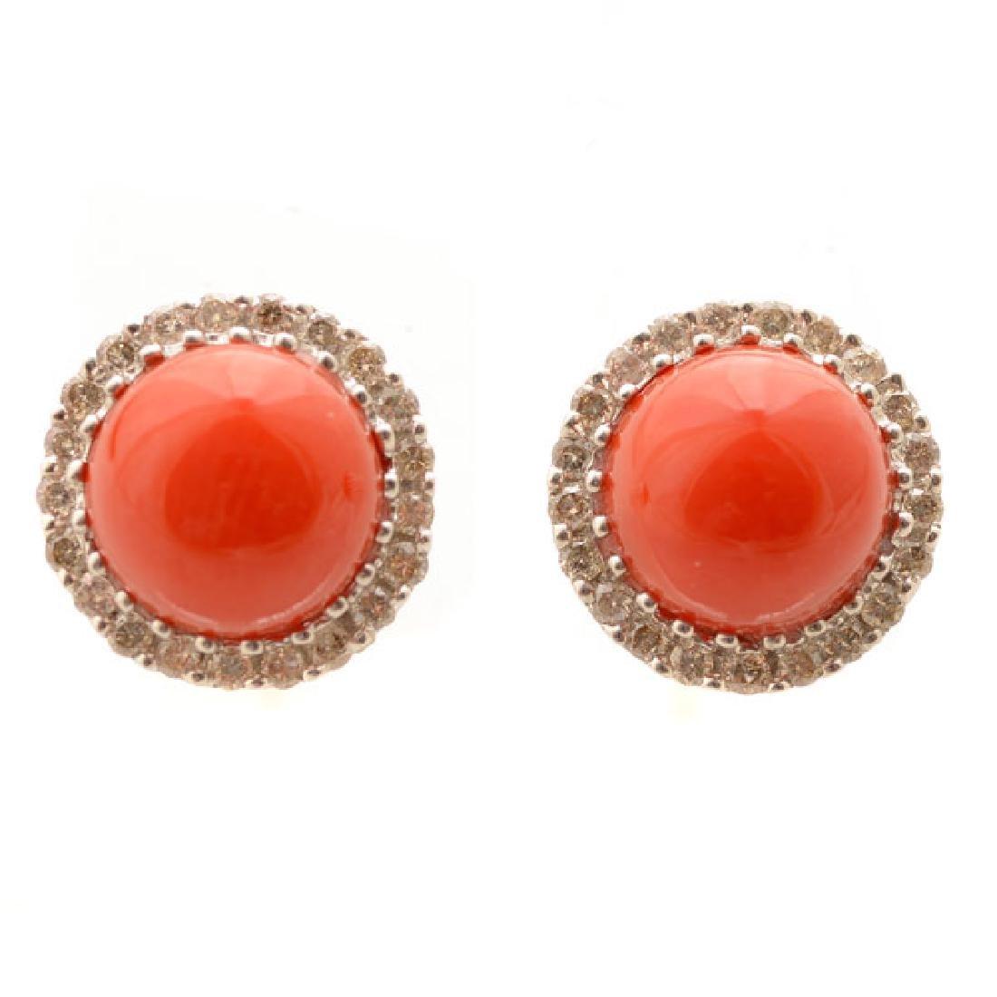 *Pair of Coral, Diamond, 14k White Gold Stud Earrings.