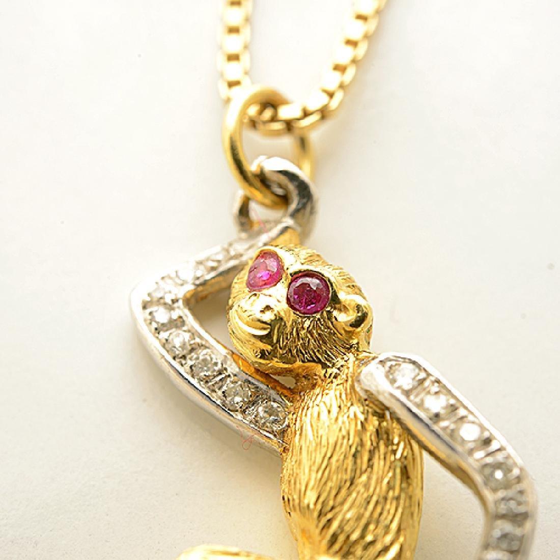 Diamond, Ruby, Gold Monkey Pendant Necklace. - 2