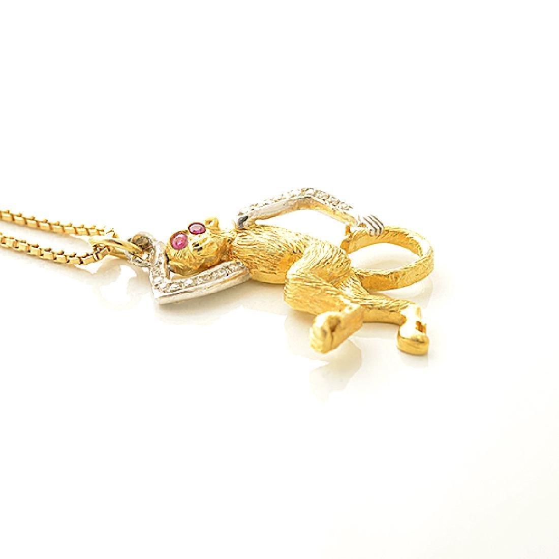 Diamond, Ruby, Gold Monkey Pendant Necklace. - 3