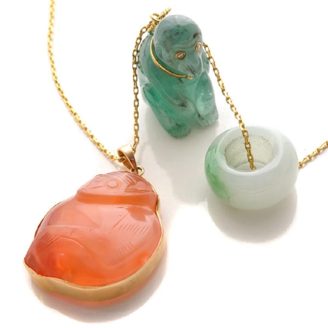 Multi-Stone, Diamond, Yellow Gold Pendant Necklace.
