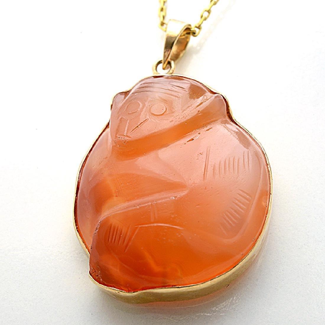 Multi-Stone, Diamond, Yellow Gold Pendant Necklace. - 2