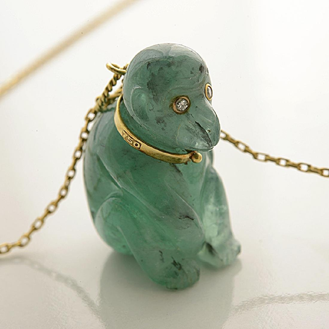 Multi-Stone, Diamond, Yellow Gold Pendant Necklace. - 3