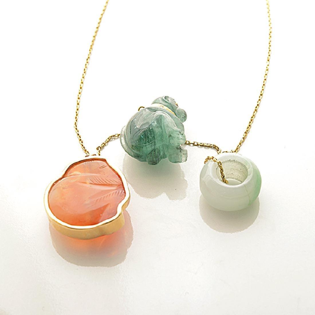 Multi-Stone, Diamond, Yellow Gold Pendant Necklace. - 5