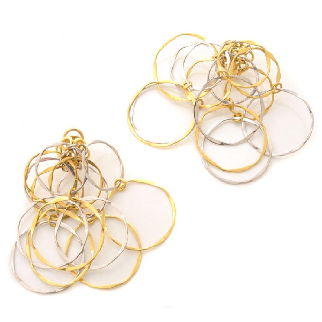 Pair of 14k Yellow and White Gold Earrings.