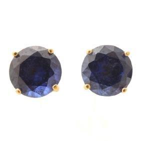Pair of Sapphire, 14k Yellow Gold Stud Earrings.