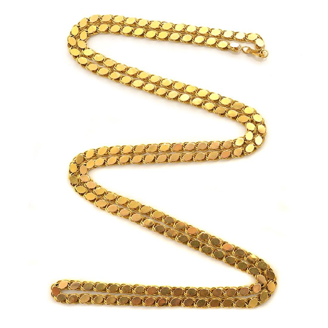 18k Yellow Gold Long Chain Necklace.