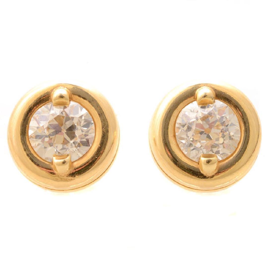 Pair of Diamond, 14k Yellow Gold Stud Earrings.