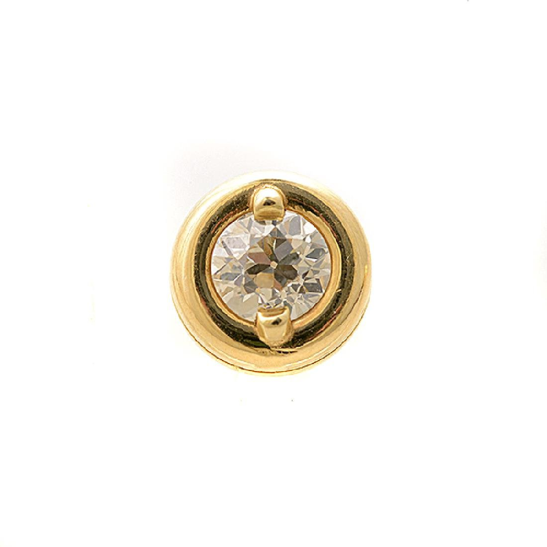 Pair of Diamond, 14k Yellow Gold Stud Earrings. - 2