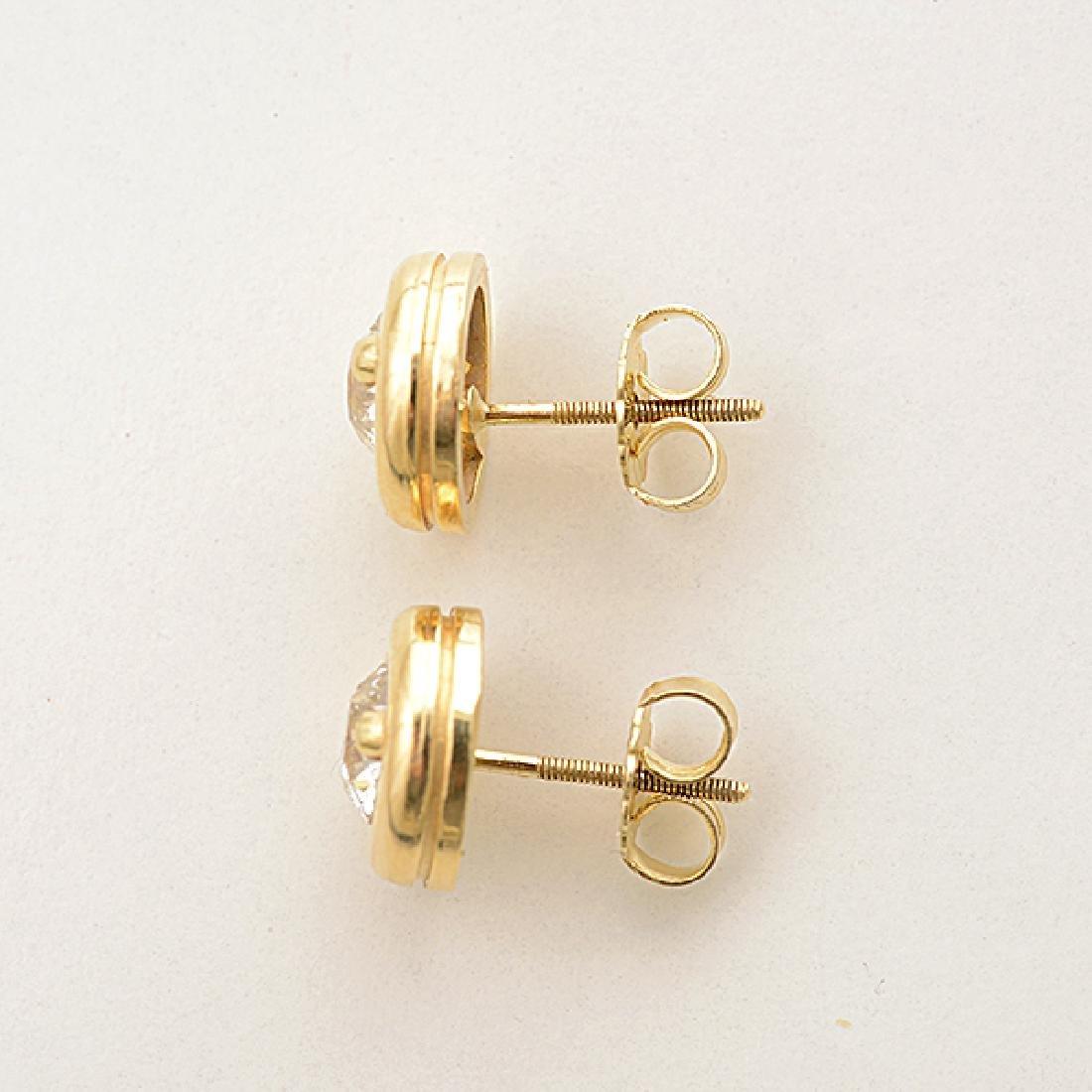 Pair of Diamond, 14k Yellow Gold Stud Earrings. - 3