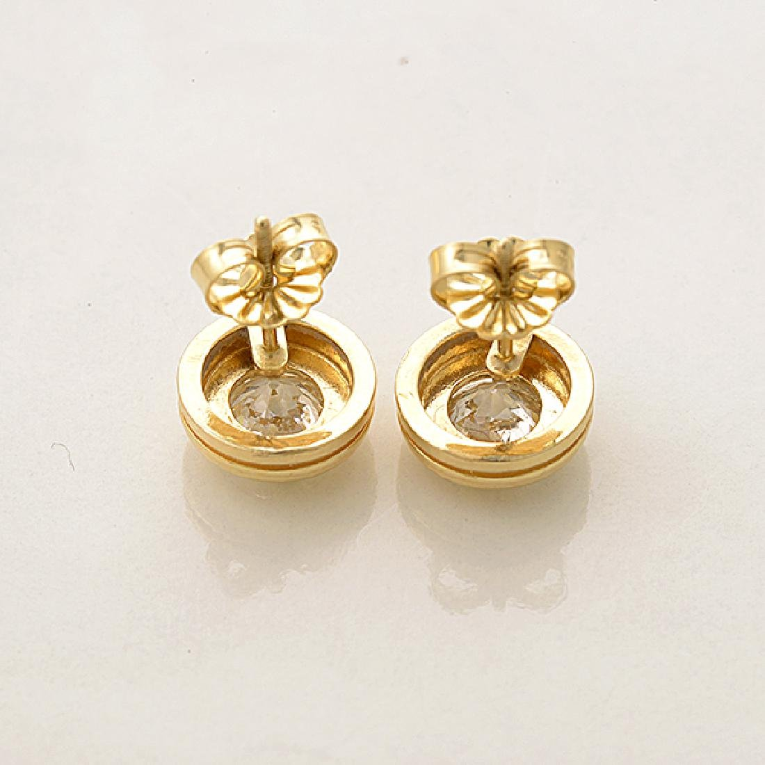 Pair of Diamond, 14k Yellow Gold Stud Earrings. - 4