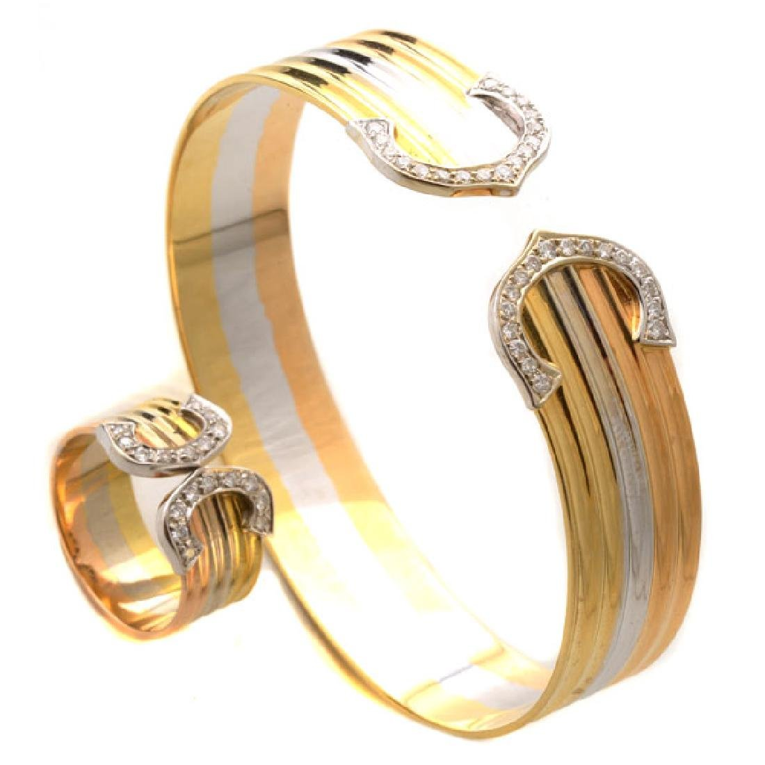 Diamond, 14k Tricolor Gold Jewelry Suite.