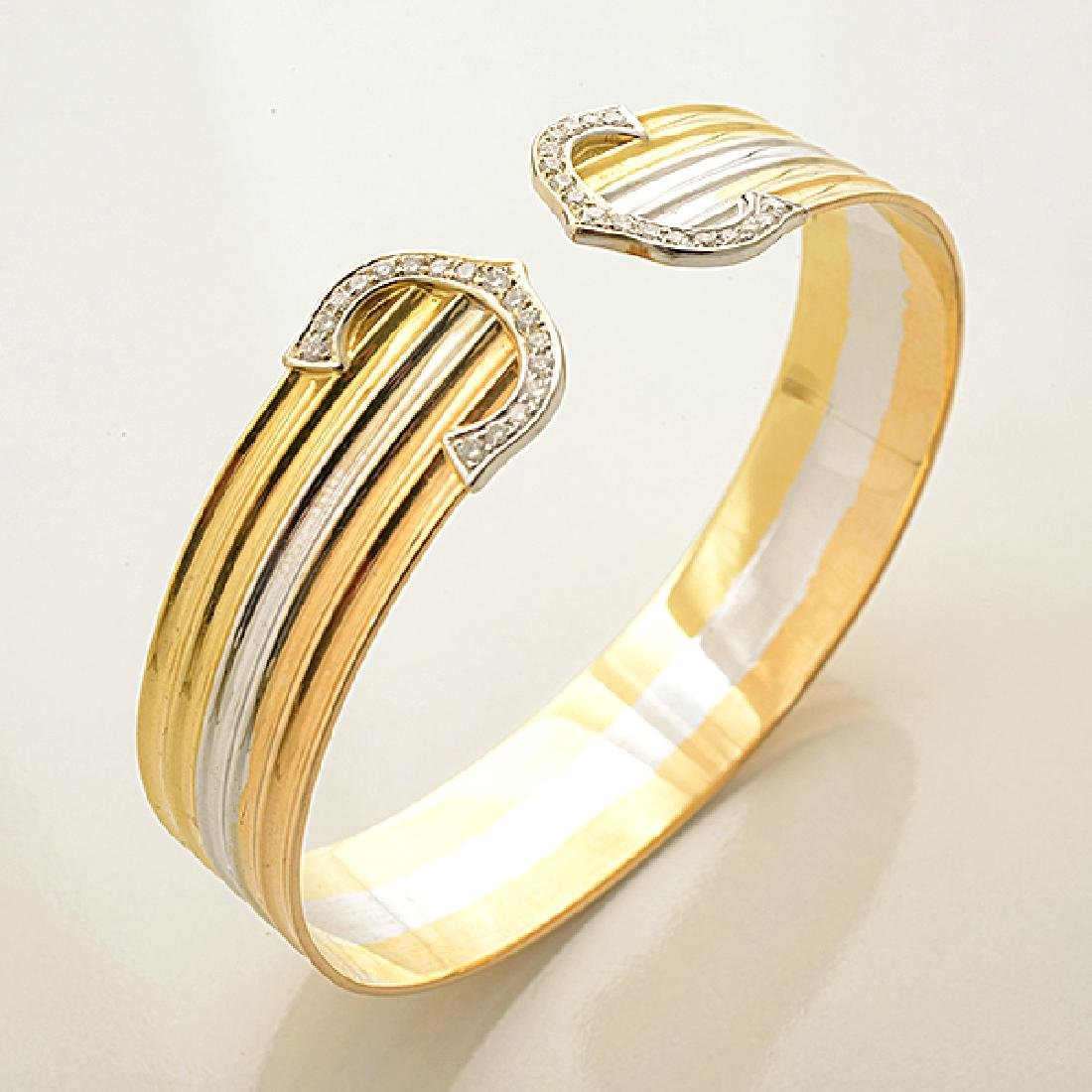 Diamond, 14k Tricolor Gold Jewelry Suite. - 3
