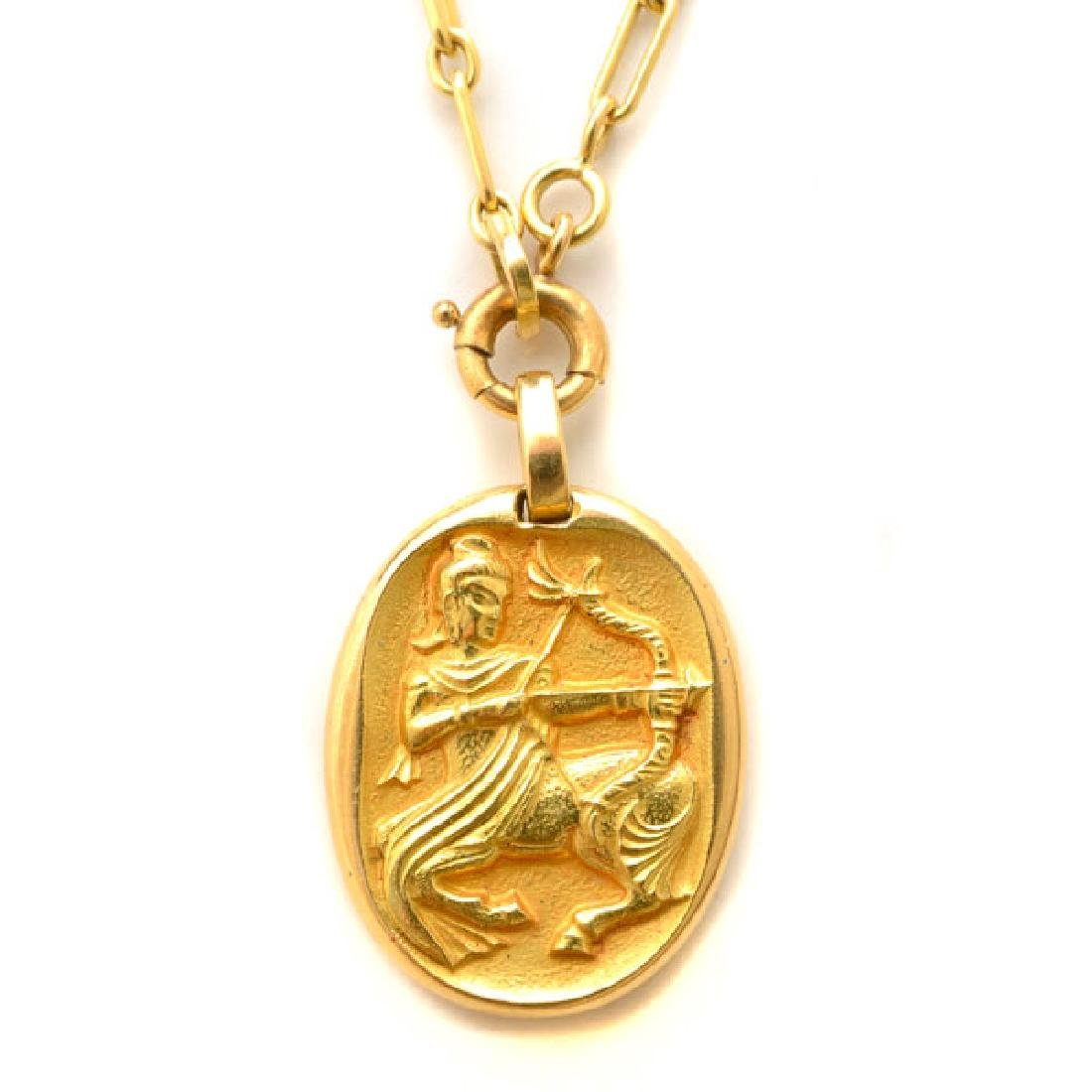 Cartier 18k Yellow Gold Sagittarius Pendant Necklace.