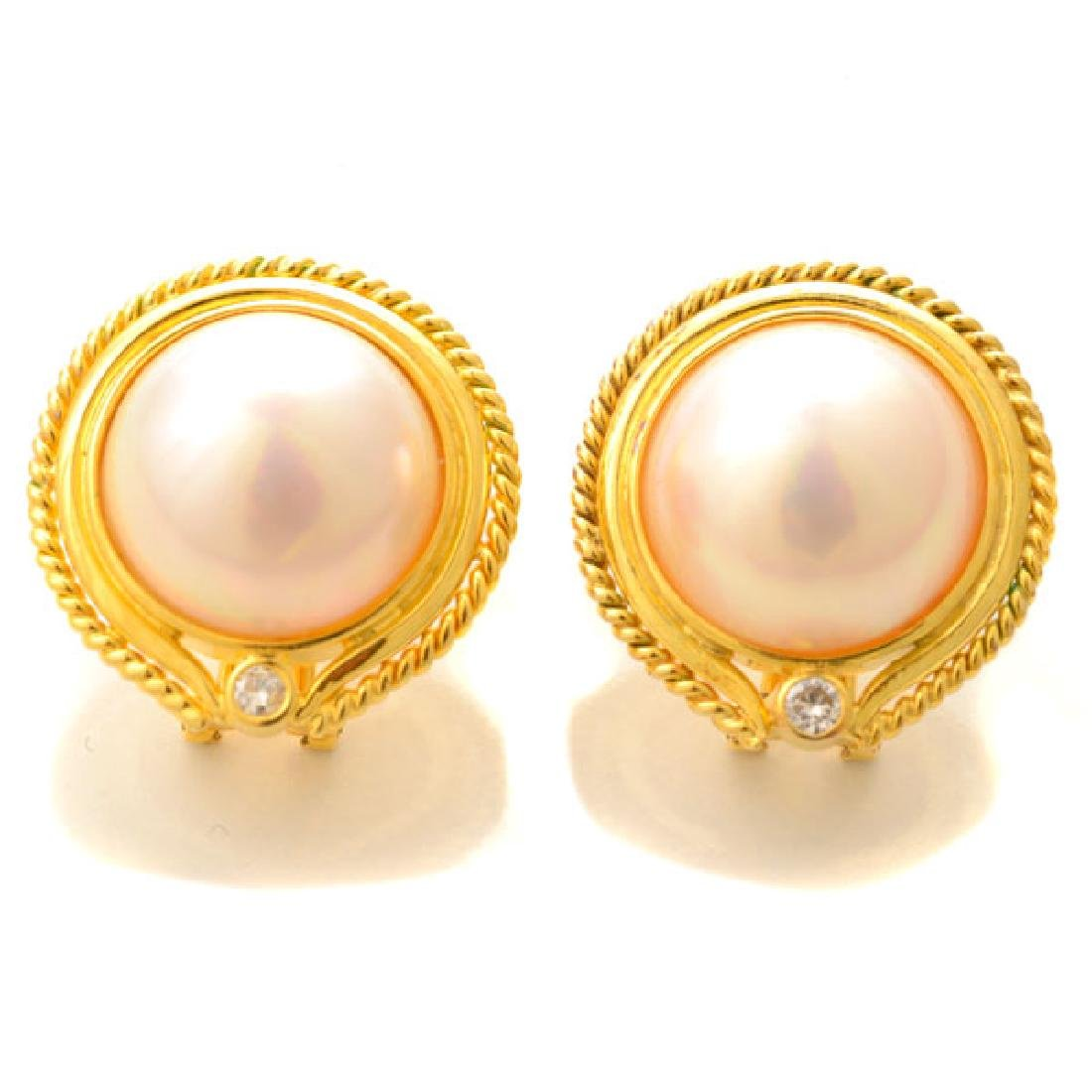 Pair of Mabe Cultured Pearl, Diamond, 14k Yellow Gold