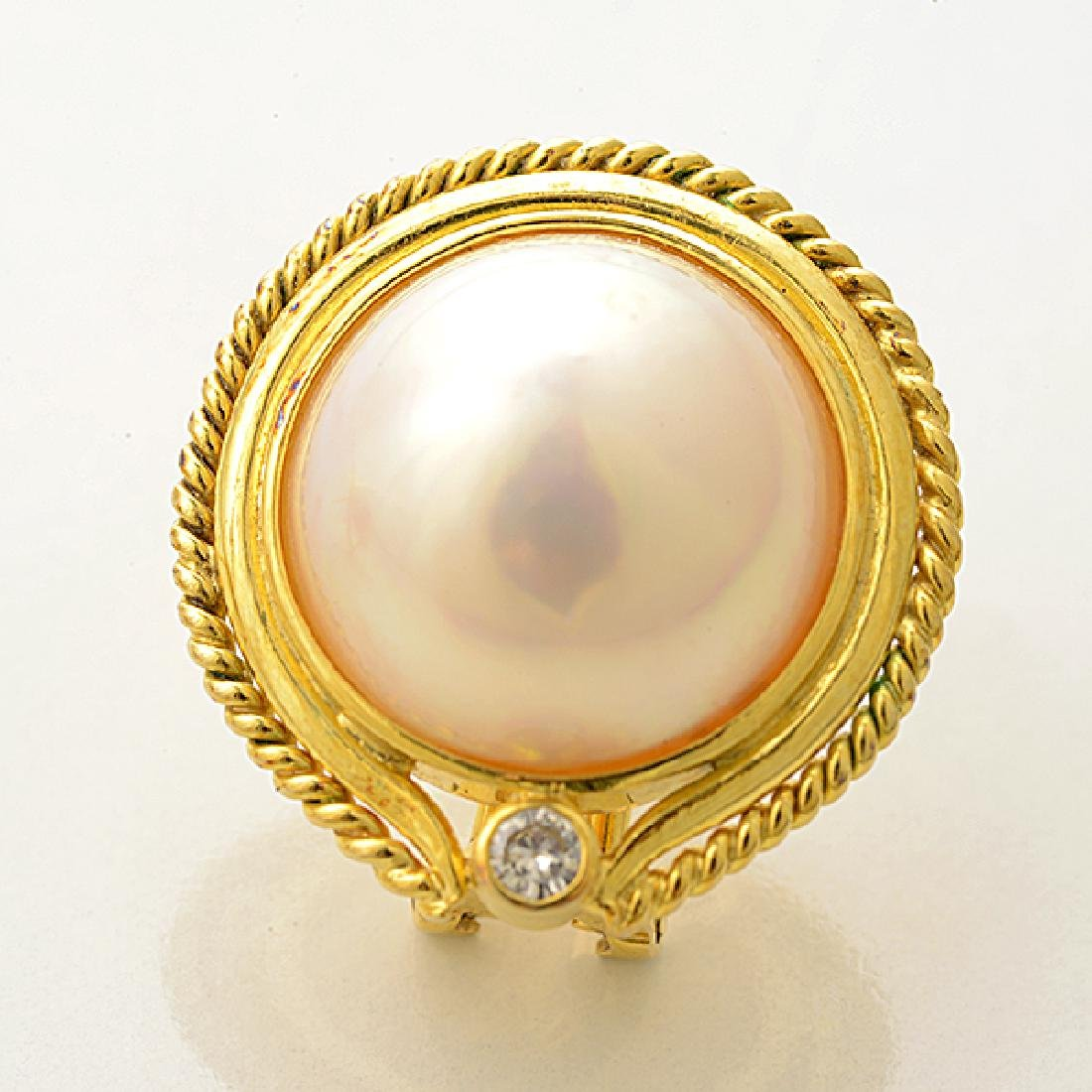Pair of Mabe Cultured Pearl, Diamond, 14k Yellow Gold - 2