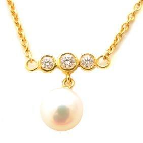 Mikimoto Cultured Pearl, Diamond, 18k Yellow Gold