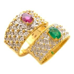 Collection of Two Ruby, Emerald, Diamond, 18k Gold