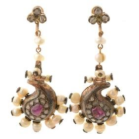 Pair of Mughal Ruby, Diamond, 14k Yellow Gold Earrings.