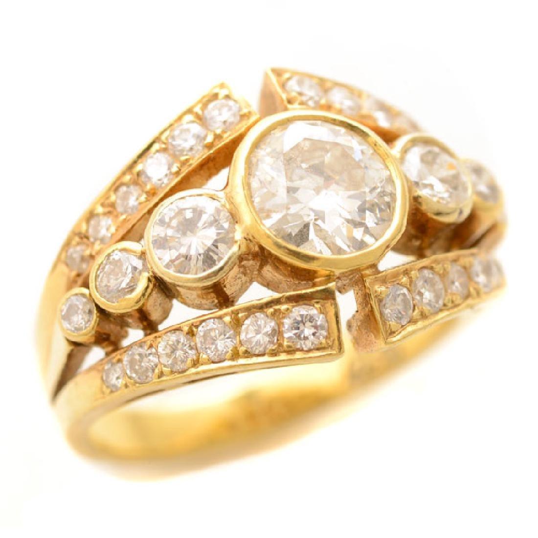 Diamond, 18k Yellow Gold Ring.