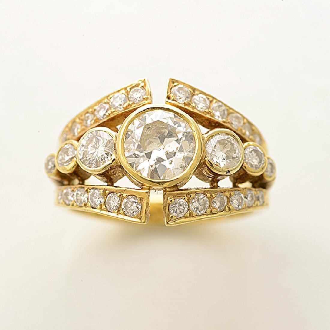 Diamond, 18k Yellow Gold Ring. - 2
