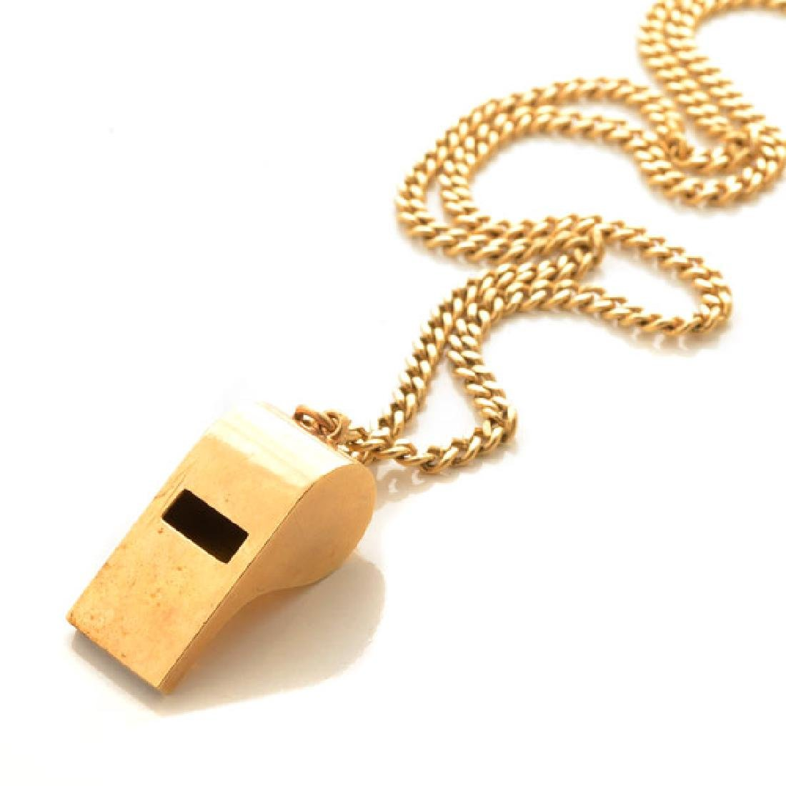 Tiffany & Co. 14k Yellow Gold Whistle Pendant Necklace.