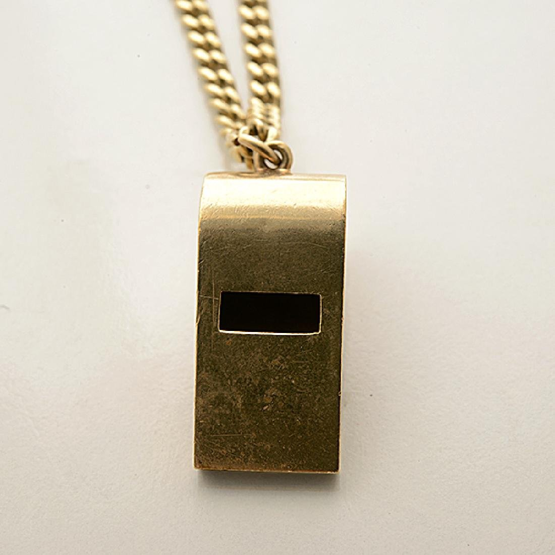 Tiffany & Co. 14k Yellow Gold Whistle Pendant Necklace. - 2