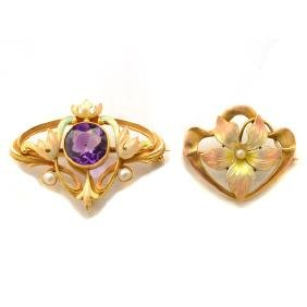 Collection of Two Art Nouveau Amethyst, Enamel, Seed